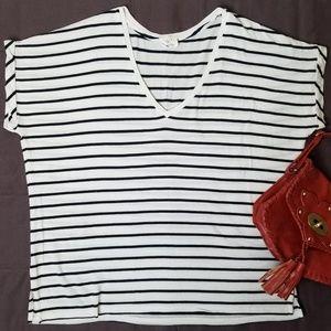 Zara Trafaluc Blue & White Striped Oversize Top